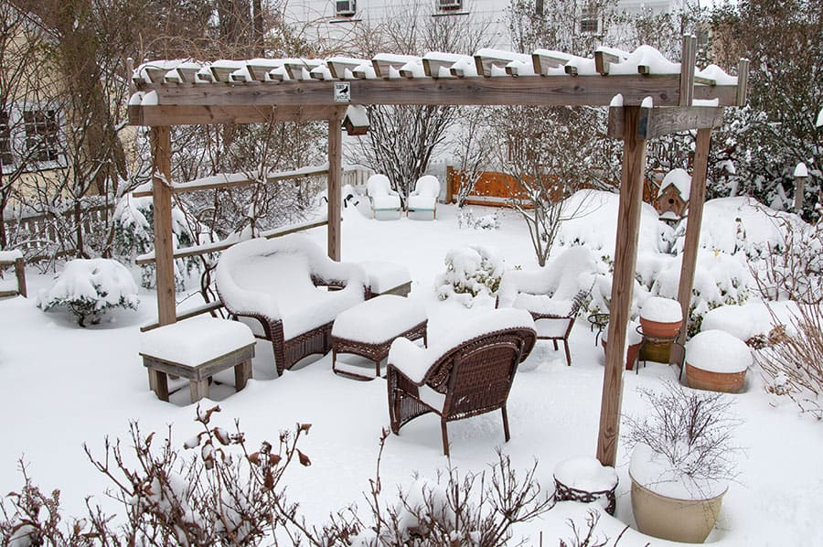 Wicker Furniture in Winter
