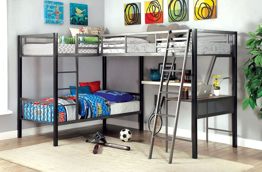 3 Bunks with Desk